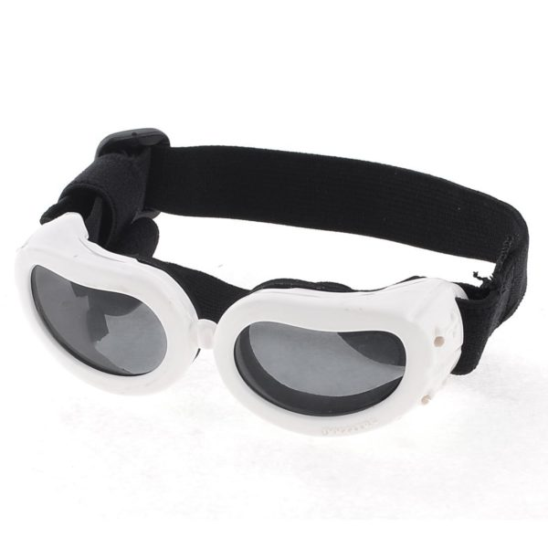 Black White Bone Pattern Adjustable Band Pet Dog Goggles Sunglasses