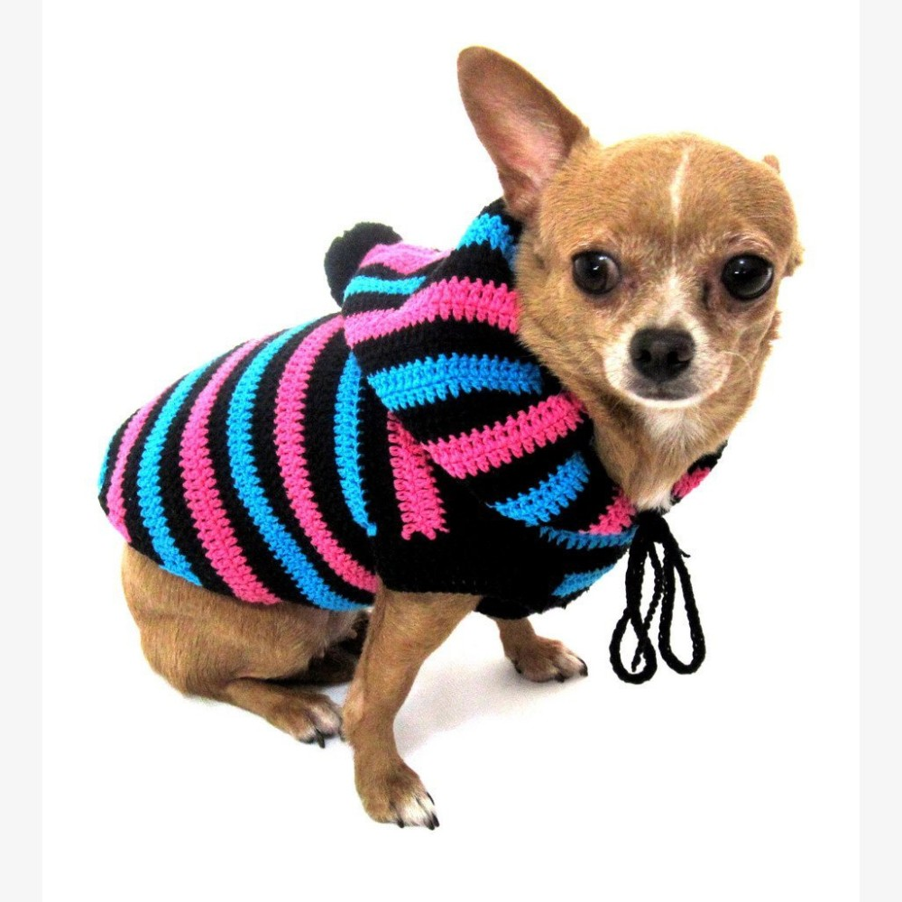 Free Crochet Pattern Chihuahua Sweater : Cute Dog Hoodie Cotton Unisex Pet Clothing Stripes Black ...