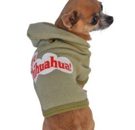 Ruff Ruff and Meow Dog Hoodie, Aye Chihuahua, Green, Small - 4
