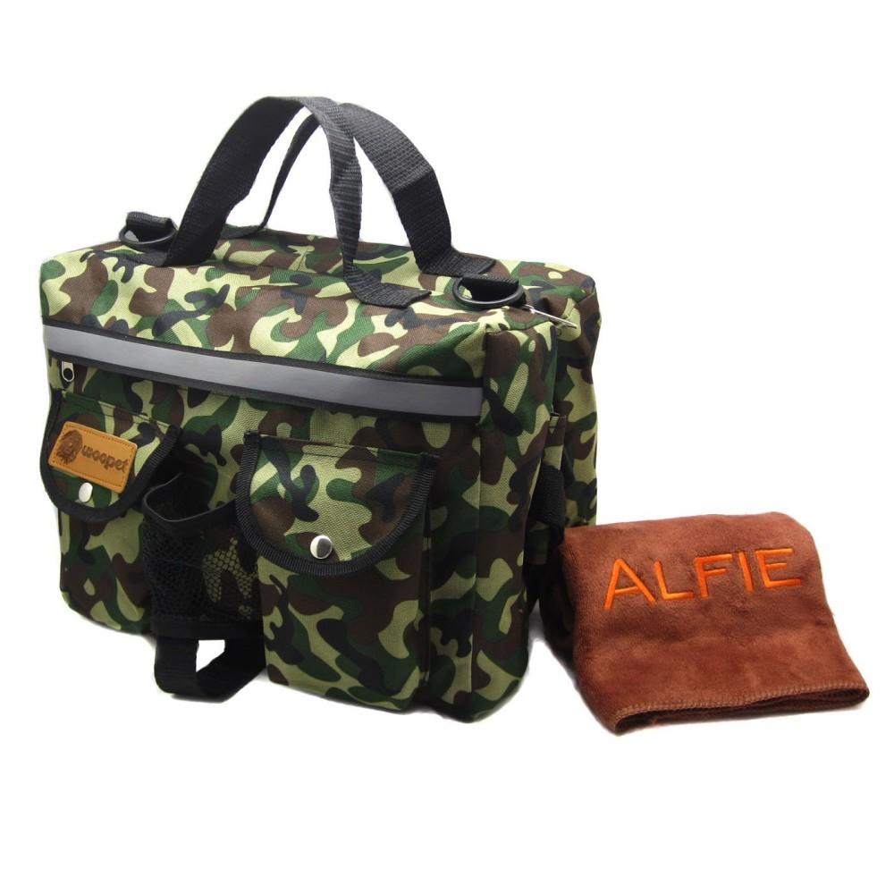Alfie Pet by Petoga Couture - Hudson Dog Travel Adjustable Backpack Carrier with Microfiber Fast-Dry Towel Set - Color: Camouflage - 1