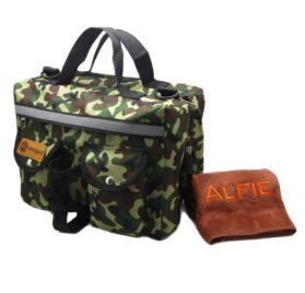 Alfie Pet by Petoga Couture - Hudson Dog Travel Adjustable Backpack Carrier with Microfiber Fast-Dry Towel Set - Color: Camouflage - 1
