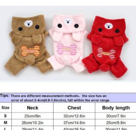 Pet Cat Dog Winter Clothes Jumper Bear Bone Jumpsuit Soft Puppy Fleece Hoodie Dog Coat-2