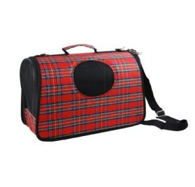 Anima Plaid PVC Hard Shell Pet Travel Carrier, 15-Inch by 8.5-Inch by 7-Inch