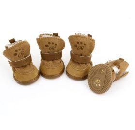 Brown Hook Loop Closure Booties Pet Dog Chihuahua Shoes Boots 2 Pair S