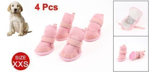 URBEST®Pink Nonslip Sole Velcro Booties Pug Dog Chihuahua Shoes Boots 2 Pair XXS-1