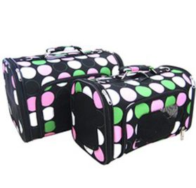 Sturdy Canvas Retro Polka Dot Print Pet Carrier 2 Piece Set w/ Carry Straps for Dog or Cat