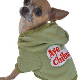 Ruff Ruff and Meow Dog Hoodie, Aye Chihuahua, Green, Large-1