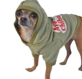 Ruff Ruff and Meow Dog Hoodie, Aye Chihuahua, Green, Large-2