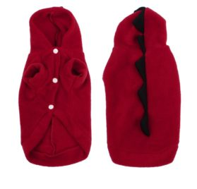 Winter Wear Short Sleeves Dog Doggie Chihuahua Hooded Clothes Apparel Red M-1