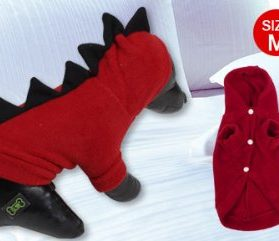 Winter Wear Short Sleeves Dog Doggie Chihuahua Hooded Clothes Apparel Red M-2