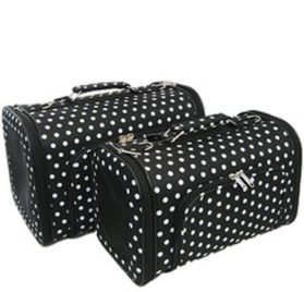 Sturdy Canvas Small Polka Dot Print Pet Carrier 2 Piece Set w/ Carry Straps for Dog or Cat Black White