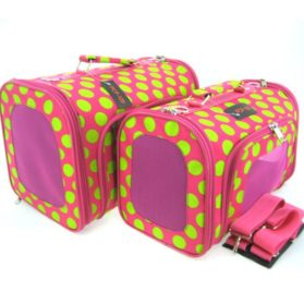 Sturdy Canvas Retro Polka Dot Print Pet Carrier 2 Piece Set w/ Carry Straps for Dog or Cat Pink Green - 1