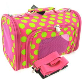 Sturdy Canvas Retro Polka Dot Print Pet Carrier 2 Piece Set w/ Carry Straps for Dog or Cat Pink Green - 2