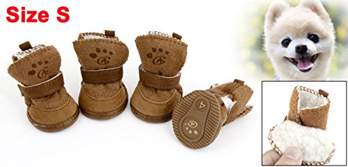 Brown Hook Loop Closure Booties Pet Dog Chihuahua Shoes Boots 2 Pair S 2