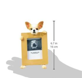 Chihuahua Picture Frame Holds Your Favorite 2.5 by 3.5 Inch Photo, Hand Painted Realistic Looking Chihuahua 2