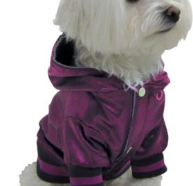 Dogit Style Metallic Dog Hoodie, Small, Purple 2