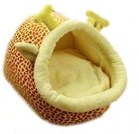 Follow518 Cute Giraffe Shape Teddy Chihuahua Cat Soft Small Bed Autumn Winter Warm Pet House