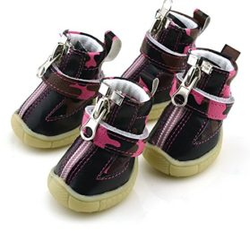 2015 Winter Warm Snow Walking Faux Leather Fleece Small Dog Puppy Boots Shoes 4 PCS Pink - 1