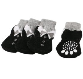 2 Pairs Paw Printed Stretchy Cuff Knitting Pet Dog Socks Gray Black L - 1