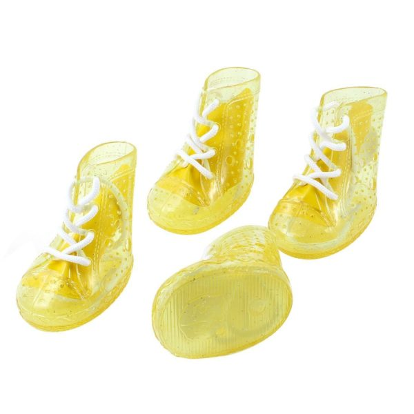 2 Pairs Clear Yellow Nonslip Sole Nylon String Pet Dog Shoes Size S - 1