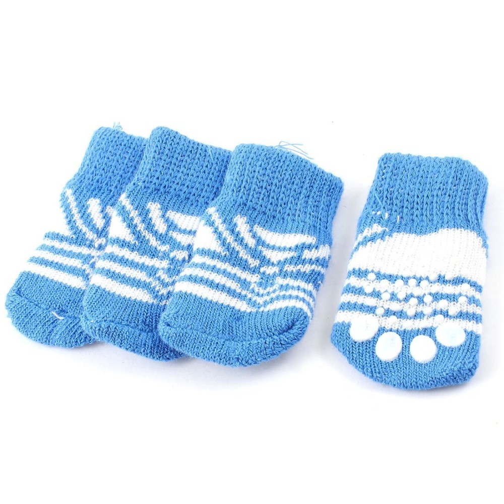 Knitting Pattern For Dog Socks : 2 Pairs Blue White Paw Pattern Knitted Nonslip Bottom Pet Dog Socks M