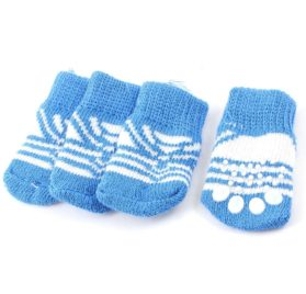 2 Pairs Blue White Paw Pattern Knitted Nonslip Bottom Pet Dog Socks M - 1