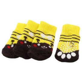 2 Pairs Striped Nonslip Bottom Pet Dog Socks Yellow Coffee Color S - 1