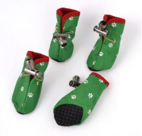 Paw Printed Drawstring Closure Pet Shoes Boot XXS 2 Pairs Green - 1