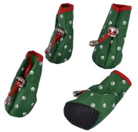 Paw Pattern Drawstring Dog Shoes Boot XXS 2 Pairs Green -1