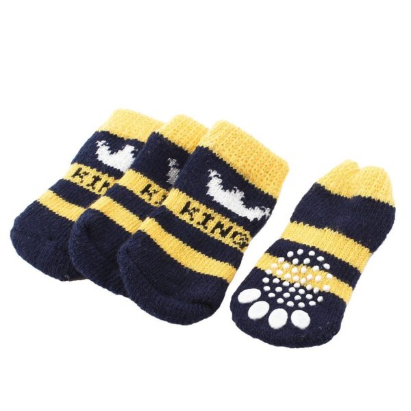 2 Pairs Navy Blue Yellow Crown Pattern Elastic Cuff Pet Dog Socks S - 1