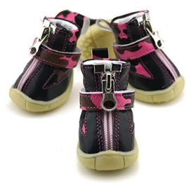 Warm Winter Air Mesh Zipper Velcro Small Dog Shoes Puppy Snow Boots Pink - 1