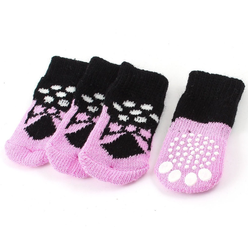 Knitting Pattern For Dog Socks : 2 Pairs Pink Black Paw Pattern Elastic Cuff Knitted Pet Dog Socks S