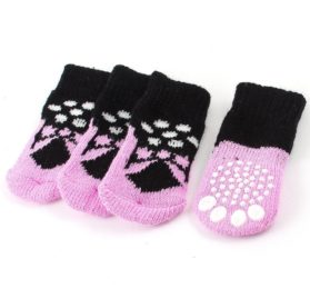 2 Pairs Pink Black Paw Pattern Elastic Cuff Knitted Pet Dog Socks S - 1