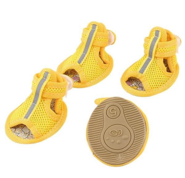 2 Pair Hook Loop Closure Pet Netty Shoes Booties Yellow S - 1