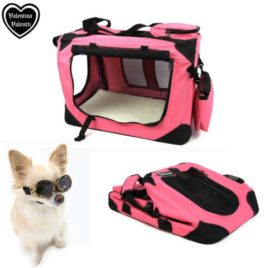Valentina Valentti Cat Dog Puppy Pet Folding Canvas Carrier Transport Crate Small Pink