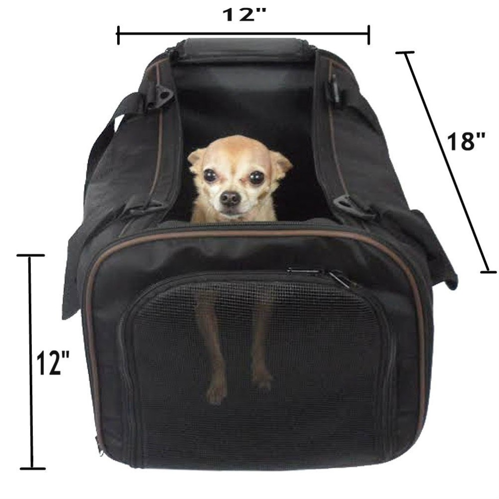 Pawfect pet large black soft sided travel pet carrier for for Air travel with dog in cabin