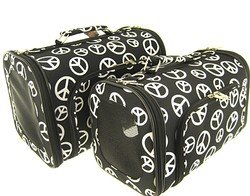 Sturdy Canvas Retro Peace Sign Print Pet Carrier 2 Piece Set w/ Carry Straps for Dog or Cat Black & White