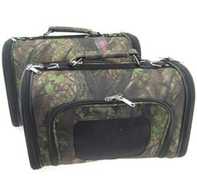 Sturdy Canvas Camo Camouflage Tree Leaves Pet Carrier 2 Piece Set w/ Carry Straps for Dog or Cat