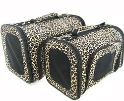 Sturdy Canvas Leopard Print Pet Carrier 2 Piece Set w/ Carry Straps for Dog or Cat - 1