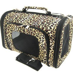 Sturdy Canvas Leopard Print Pet Carrier 2 Piece Set w/ Carry Straps for Dog or Cat - 2
