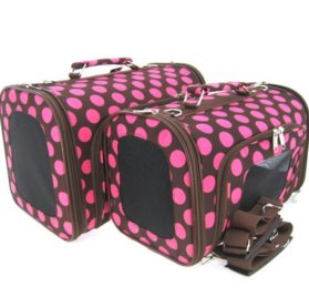 Sturdy Canvas Retro Polka Dot Print Pet Carrier 2 Piece Set w/ Carry Straps for Dog or Cat Pink Brown - 1