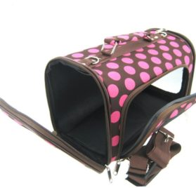 Sturdy Canvas Retro Polka Dot Print Pet Carrier 2 Piece Set w/ Carry Straps for Dog or Cat Pink Brown - 2