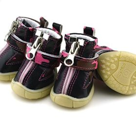 Warm Winter Air Mesh Zipper Velcro Small Dog Shoes Puppy Snow Boots Pink - 4