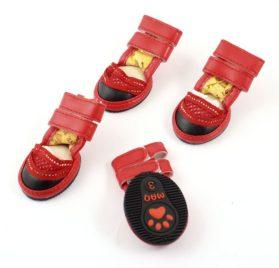 Pet Dog Doggie Detachable Closure Meshy Bootie Shoes XS 2 Pairs Red - 1