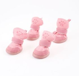 Water & Wood Pink Nonslip Sole Velcro Booties Pet Dog Chihuahua Shoes Boots 2 Pair XS
