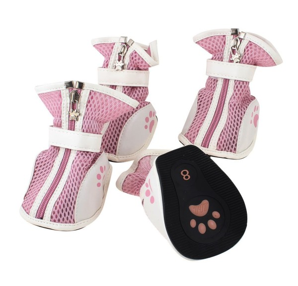 2 Pair Zip Closure Mesh Design Pet Dog Chihuahua White Pink Shoes L