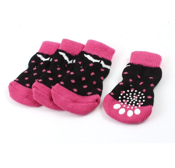 2 Pairs Fuchsia Black Paw Print Knitted Stretchy Cuff Pet Dog Socks L