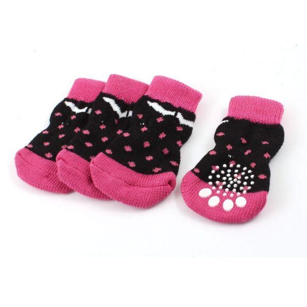 2 Pairs Fuchsia Black Paw Print Knitted Stretchy Cuff Pet Dog Socks L