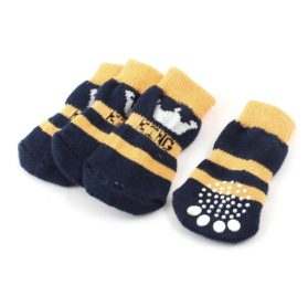 2 Pairs Navy Blue Yellow Crown Pattern Stretch Pet Dog Socks L
