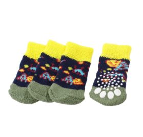 2 Pairs Tri Color Paw Printed Stretchy Cuff Pet Dog Doggy Socks M